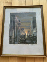 Mid Century Modern Cityscape Oil Painting Signed Steffen 17x21 Inches