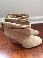 "Tori Burch Suede ""Bari"" Slouchy High Heel Bootie Sand Sz 9 Retail $395!"