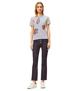 TORY BURCH Striped Floral Embroidered T-shirt XL $148