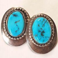 Stunning Vtg Kingman Turquoise Beaded Sterling Silver Navajo Earrings Signed HB
