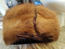 vintage Ethel Young brown mink or fox hat has combs for hair
