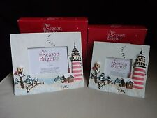 Set (2) Kohl's Picture Photo Frames 3-D Nautical Christmas Lighthouse Log Cabin