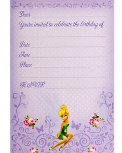 Disney Fairies Tinkerbell Party Supplies Birthday Invitations  (Pack 8)