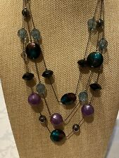 BLACK 3-LAYER CHAIN GLASS + PLASTIC BEADED NECKLACE, SEE PICS