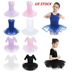US Kid Girls Tutu Ballet Dance Dress Ballerina Leotard Skirt Costume Dancewear
