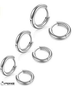 2x Women Men Titanium Steel Silver Cartilage Thick Huggie Hoop Earrings 8-20mm