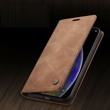 For Samsung Galaxy Note 10+ S10 S20 Synthetic Nubuck Leather Wallet Case Cover