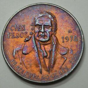 1978 MEXICO CIEN 100 PESOS PLATA PURA LEY .720 SILVER TONED COIN, UNGRADED, NR $