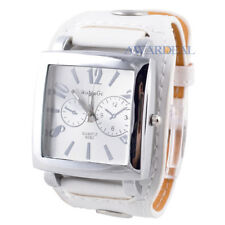 Famous Brand White PU Leather Strape Square Plate Alloy White Dial Wrist Watch