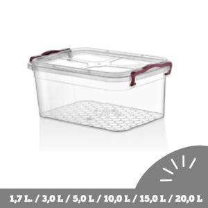 Transparent Aufbewahrungsbox Kunststoffbox mit Deckel Plastikbox Grau Griffe