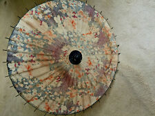 Vintage Japanese Fabric Flower Parasol with Bamboo Spokes