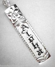 10mm Hawaiian Solid 925 Sterling Silver Black Enamel Aloha Vertical Pendant #3
