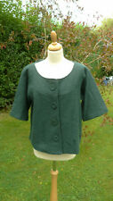 August Silk green wool cropped short sleeved collarless jacket size L   (B6)