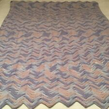 "HAND CROCHETED AFGHAN!  LAVENDER BLUE PINK    62"" X  36"" VERY PRETTY!"