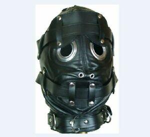 Leder Maske Schwarz Knechtschaft Kopfmaske   ZM Sklavenmaske Augen Mund öffnung