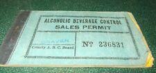 Vintage North Carolina Alcoholic Beverage Control Sales Permit Book==1944-45==