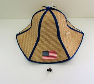 US Flag Foldable Straw Hat 4th of July American Hat with Drawstring Blue