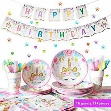 Polka Dot Sky Unicorn Birthday Party Supplies Tableware 16 pack Set Disposable