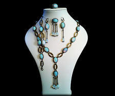 Tudor/Medieval Style Opaline Necklace, Bracelet, Earrings, Ring, Brooch Set