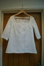 Monsoon white broderie anglaise pretty summer blouse, size 10