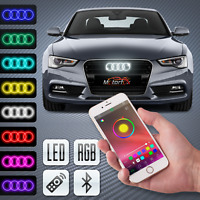AUDI  LED BADGE BLUETOOTH EMBLEM  LIGHT FRONT GRILL RGB LOGO RINGS MULTICOLOR