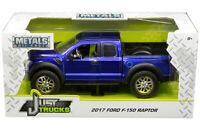 2017 Ford F-150 SVT Raptor Pickup Truck Die-cast 1:24 Jada Toys 8 inch Blue