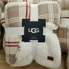 """Ugg Oversized Reversible Throw Blanket in Oatmeal Plaid Redwood 60""""×70"""" New"""