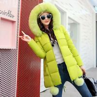 Women's Add Thick Fur Collar Hooded Warm Jacket Long Down Blend Parka Coat Vogue