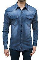 Camicia di Jeans uomo Blu scuro denim casual slim fit in cotone XS S M L XL XXL