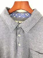 Boden Men's Gray Short Sleeve Polo Shirt 100% Cotton XL