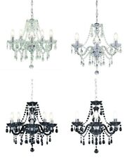Kliving Tuscany Chandelier 3 & 5 Ceiling Light Acrylic Droplets Clear Black