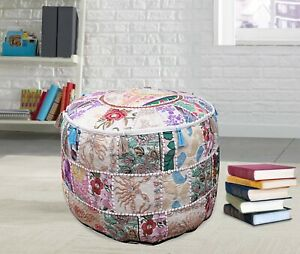 Round Ottomans Poufs Handmade Floor Pillows Indian Footstools Floor Seat Decor