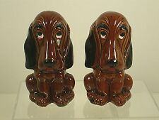 ENESCO Brown Hound Sad Face w/ teardrop Dog Salt and Pepper Shakers 1960's