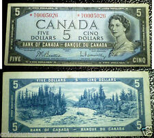 Asterisk Replacement *N/X $5 - 1954 Bank Of Canada  VF+ Low serial number