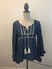 Coco Jameson Small Chambray Top Bell Sleeve Peasant Boho Festival Tassels NWT