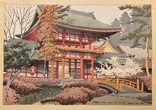 Red Gate Kamigamo Shrine Rare Takeji Asano Japanese Woodblock Print Circa 1930