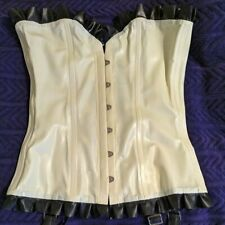 White Overbust Latex Corset with Garters