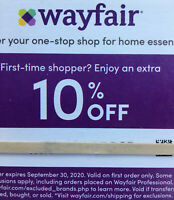 Wayfair.com Couponz 10% off your first order. Exp. 9/30/2020. Sent To Message.