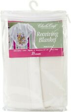 Cross Stitch Baby Receiving Blanket Nip Charles Craft White w/ Pattern Boy Girl