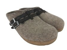 Haflinger Adjust Gray Wool Slip On Clogs Shoes Sandals Sz 41 / US Womens 10