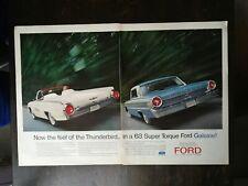 Vintage 1963 Ford Super Torque Galaxie Two Page Original Color Ad