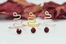 Adjustable Swirl Rings-Choose Your Finish Ruby Red Swarovski Crystal Elements