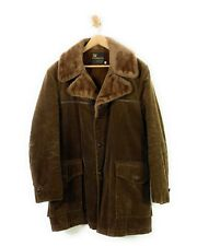 Vintage 60s Coat Brown Corduroy Overcoat Faux Fur Weathercaster 42 Made In USA