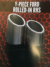 """Twin 3"""" (76mm) OUT 2 1/4"""" (57mm)IN Y-PIECE FORD ROLLED RHS CHROME EXHAUST TIP"""