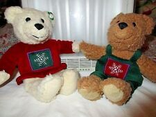 "Hallmark Cards Holiday Teddy Bear 10"" Plush Red /Green Handholding Frieinds"