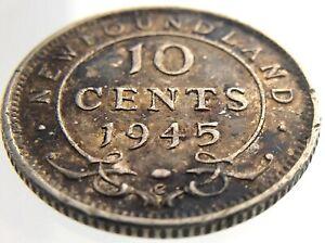 1945C Newfoundland Canada 10 Cents Dime Circulated Ten George VI Coin R528