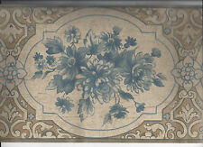 BLUE FLOWERS MOULDING WALLPAPER BORDER NEW ARRIVAL VICTORIAN FLORAL CRACKED LOOK