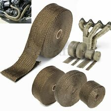 2''x5M Titanium Exhaust Heat Wrap Tape Roll Cable Pipe W/ 6Stainless Ties Kit US