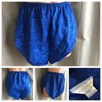 80's Flutter French Cut Panties PARTNER'S MERVYNS Royal Blue Jacquard Poly Sz S