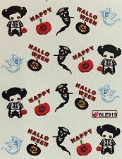 Nail Art Water Decals Happy Halloween Ghost Skeleton Pumpkin BLE919